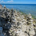 Rock stacks at Cave Point County Parks.- Cave Point County Park