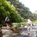 The final river crossings en route to Lonomea.- Lonomea via the Kukui Trail