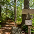 Intersection of the Sawyer Pond Trail and the access to the campsites and shelter.- Sawyer Pond Campsites