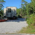 Sites can accommodate RVs.- Henderson Beach State Park Campground