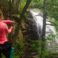 As the trail climbs up past Stag Brook Falls, there is an opportunity to view it from the side.- Stag Brook Trail
