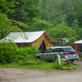 One of the canvas cabin sites.- Heart Lake Campground
