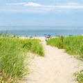 The sandy path with beach grass on Race Point Beach.- Race Point Beach