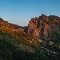 View of Eldorado Mountain (left) and Shirttail Peak (right).- Eldorado Mountain