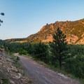 The wide trail continues upward.- Eldorado Mountain