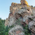 Mickey Mouse Wall and the scramble to the left.- Eldorado Mountain