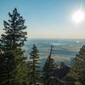 At the top, looking through the trees.- Eldorado Mountain