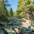 More boulders to climb toward the summit.- Eldorado Mountain