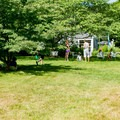 Families enjoying the open space at the gallery.- The Field Gallery