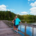 Standing on large dock.- Whitten Park Campground