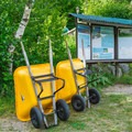 Wheelbarrows to shuttle your gear to your campsite.- AMC's Cardigan Campsites