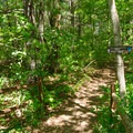 The entrance to the hiking trails is near the booth at the entrance.- Thompson's Lake Campground