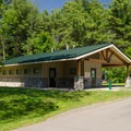 There are several restroom buildings, referred to as comfort buildings, located throughout the campground.- Thompson's Lake Campground