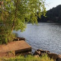The small concrete fishing dock.- Loon Lake East Shore Recreation Site