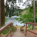Stairs to access the waterfront area.- Loon Lake East Shore Recreation Site