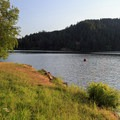 The grassy day use area is ideal for fishing and swimming.- Loon Lake East Shore Recreation Site Campground