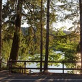 The waterfront day use area is across the street from the campground.- Loon Lake East Shore Recreation Site Campground