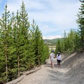 Gentle slopes make this an easy hike for families.- Grand Prismatic Spring Overlook