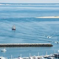 Views of ships from the top of the Pilgrim Monument.- Pilgrim Monument