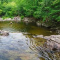 The pool below the upper falls.- Buttermilk Falls Swimming Hole