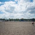 Volleyball net at Devereux Beach.- Devereux Beach