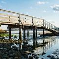 The dock and boardwalk at Cape Hedge Beach.- Cape Hedge Beach