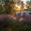 Most of the sites in the campground are in the meadow or are lightly shaded.- Button Bay State Park