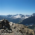 Panorama from the top of Mount Reynolds. Saint Mary Lake is on the far left and Lake McDonald on the far right.- Mount Reynolds Summit