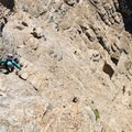 Scrambling through the upper cliff bands.- Mount Reynolds Summit
