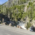 Viewing Firehole Falls from the road.- Firehole Canyon