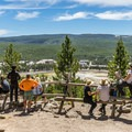 Many people come up to this spot to watch Old Faithful erupt.- Observation Point