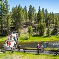 The bridge over the Firehole River.- Observation Point