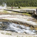The Firehole Lake boardwalk trail.- Firehole Lake Scenic Drive