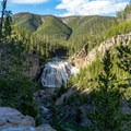 Gibbon Falls from the lower overlook.- Gibbon Falls