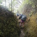Hiking up the steep valley wall out of Waimanu Valley.- Waimanu Valley via the Muliwai Trail
