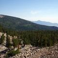 The rocky trail provides views of bristlecone pines.- Rock Glacier Trail