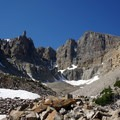 The towering glacier provides stunning views on the trail.- Rock Glacier Trail