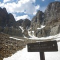 Sign signifying the end of the trail.- Rock Glacier Trail