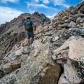 Hiking the ridge toward the summit.- Hayden Peak