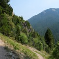 Switchbacks populate the entire trail up the mountain. Enjoy views of Garnet Mountain on your way up.- Storm Castle Peak