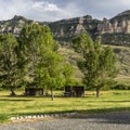 Tent sites at North Fork Campground have wind shelters.- North Fork Campground
