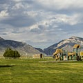 North Fork has a playground set in a huge grassy area.- North Fork Campground