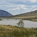 Distant view of Buffalo Bill Reservoir.- North Fork Campground