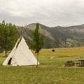 The campground features a tipi available for reservation.- Lewis and Clark Caverns State Park Campground