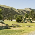 The campground features a playground for children.- Lewis and Clark Caverns State Park Campground
