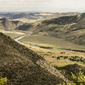 View of the park campground and the Jefferson River below.- Lewis and Clark Caverns