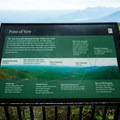 A sign depicting the mountains seen from the first overlook.- Caesar's Head State Park