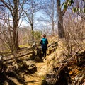 A hiker on the trail to Upper Falls.- Graveyard Fields