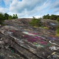 Years upon years of spray painted graffiti.- Bald Rock Heritage Preserve