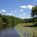 Visitors enjoy canoeing and boating on the park's lakes.- Pocahontas State Park
